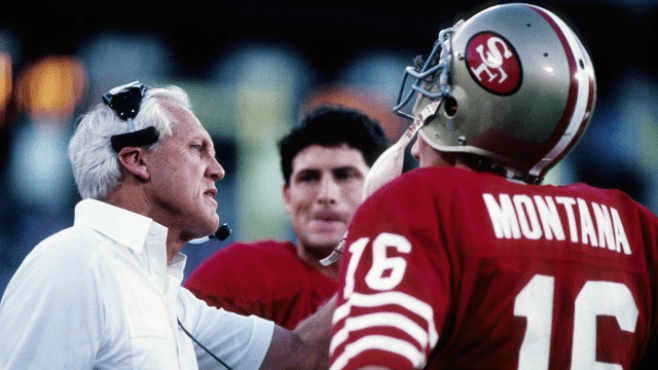 San Francisco 49ers head coach Bill Walsh talks with quarterbacks Joe Montana and Steve Young. For older New Orleans Saints fans, the team they hated the most were the 49ers. — Photo courtesy of CBS Sports