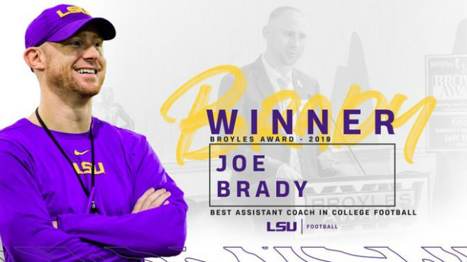 LSU Passing Game Coordinator Joe Brady Winner of Broyles Award