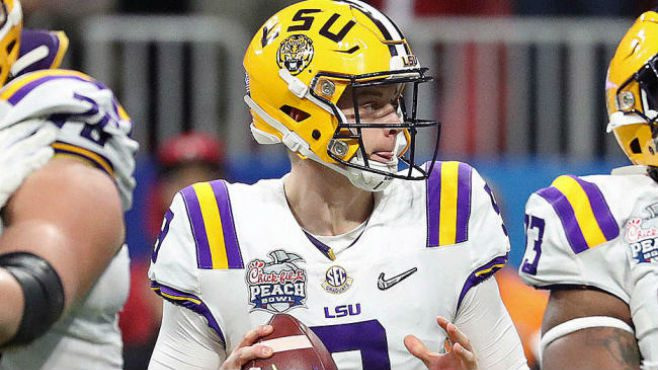 LSU's Joe Burrow and Justin Jefferson set several new records in the first half of the Chick-fil-A Peach Bowl on Saturday. — Photo Courtesy of CBS Sports.
