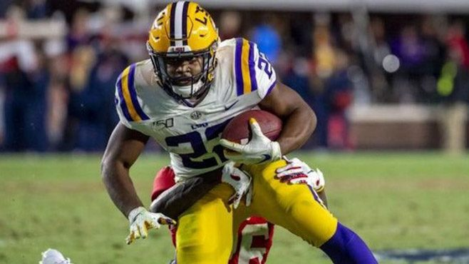 LSU running back Clyde Edwards-Helaire had a monster game against Arkansas on Saturday night. — Photo courtesy of CBS Sports