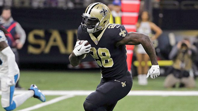 New Orleans running back Latavius Murray finds open space in Sunday's 34-31 win over Carolina — Photo courtesy of CBS Sports