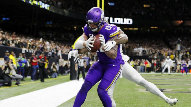 Minnesota Vikings TE Kyle Rudolph catching the game-winning pass during Wild Card Weekend against the New Orleans Saints. Photo courtesy of CBS Sports