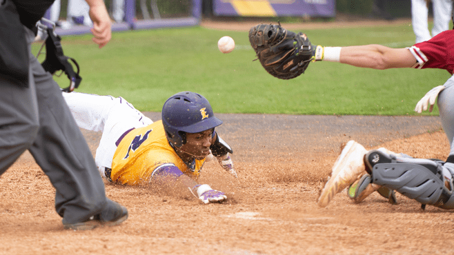 LSU Eunice's Javier Vaz slides into home plate during Sunday's series finale at Bengal Stadium. — Photo courtesy of LSUE Athletics