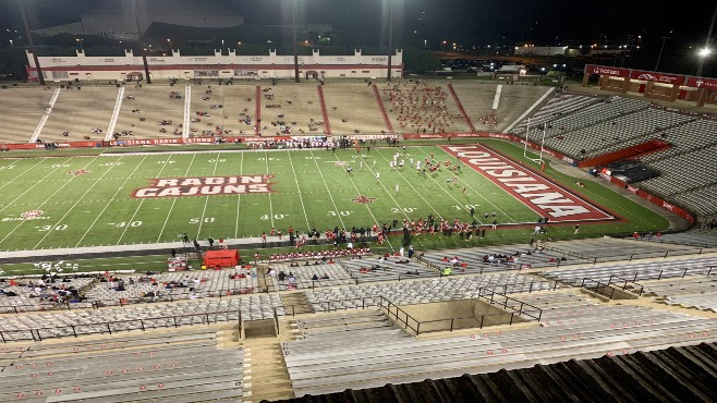 Team Vermilion defeated Team White 13-11 to win the Louisiana Spring Game on Thursday night at Cajun Field. -- Photo by Raymond Partsch III
