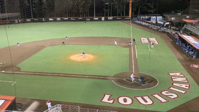 The Louisiana Ragin' Cajuns defeated the McNeese Cowboys 4-3 on Wednesday night at Tigue Moore Field. -- Photo by Raymond Partsch III