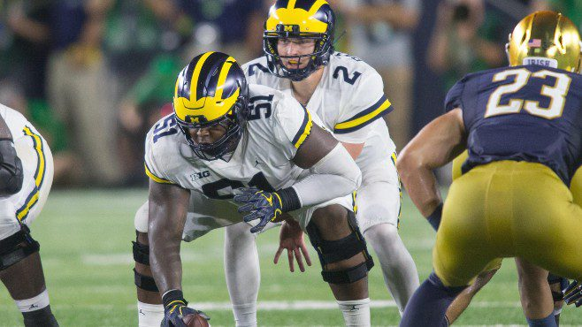 The New Orleans Saints selected Michigan center-guard Cesar Ruiz with the No. 24 overall pick during Thursday's NFL Draft. — Photo courtesy of CBS Sports