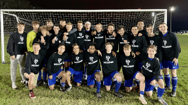 The David Thibodaux boys soccer team has had a historic season. The Bulldogs won the district title for the first time, and won a playoff game for the first time. — Photo courtesy of Derek Menard