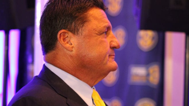 LSU head coach Ed Orgeron gets ready to take the stage at SEC Media Days in Hoover on Monday. — Photo by Clint Domingue