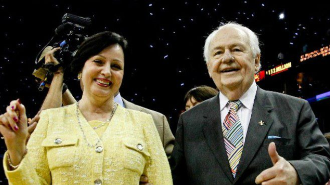 New Orleans Saints owner Gayle Benson poses for a photo with her late husband, and former team owner, Tom Benson inside the Mercedes-Benz Superdome. The Saints announced on Friday that Benson has tested positive for COVID-19.  — Photo courtesy of CBS Sports
