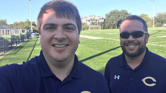 Ben Love (left) and Blaine Viator will be calling Carencro High football for the fifth straight season this fall. Golden Bears football will be broadcast once again on Z105.9 FM. — Photo courtesy of Ben Love