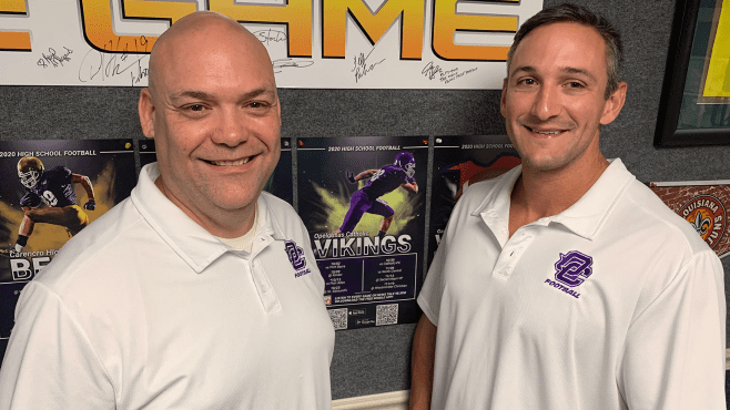 Monty Hanks (left) and Seth Richard will be on the call for Opelousas Catholic football this fall. Viking games will be broadcast on News Talk 98.5 FM and 1520 AM. — Photo by Raymond Partsch III