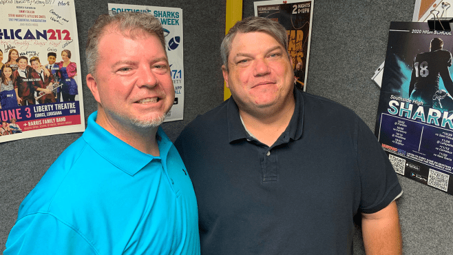 Jason Burns (left) and Nick Fontenot return to broadcast Southside High Football this fall on Mustang 107.1 FM. The Sharks made the playoffs last season. — Photo by Raymond Partsch III