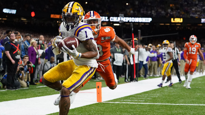 LSU wide receiver Ja'Marr Chase (1) catches a touchdown pass against Clemson cornerback A.J. Terrell during the second quarter in the College Football Playoff National Championship Game at Mercedes-Benz Superdome in 2020. Photo courtesy of Kirby Lee-USA TODAY Sports