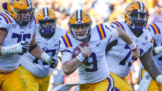 LSU QB Joe Burrow running down the field against Alabama. — Photo courtesy of CBS Sports.