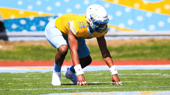 Southern junior defensive end Jordan Lewis earned All-SWAC First Team honors and was selected SWAC Defensive Player of the Year. -- Photo courtesy of Southern Athletics