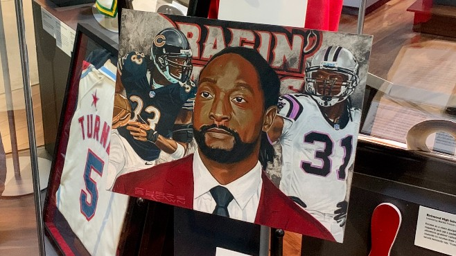 """The portrait of Ragin' Cajun football legend Charles """"Peanut"""" Tillman is on display inside the Louisiana Sports Hall of Fame in Natchitoches. Tillman will be inducted into the LSHOF this summer. -- Photo by Raymond Partsch III"""