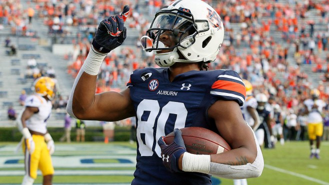Auburn wide receiver Ze'Vian Capers celebrates scoring a touchdown during Saturday's 48-11 win over LSU. -- Photo courtesy of CBS Sports