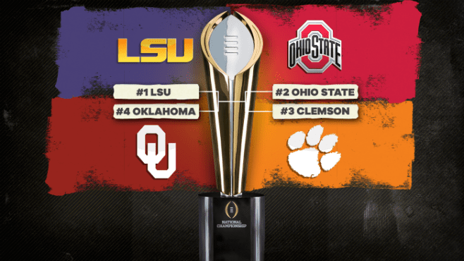 LSU takes on Oklahoma in the Chick-fil-A Peach Bowl today in Atlanta. Photo courtesy of CBS Sports.