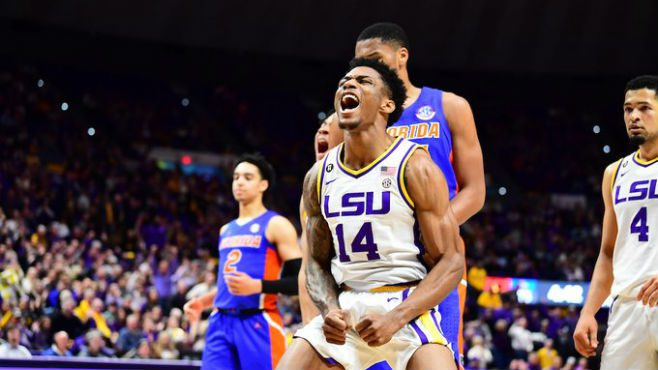 LSU's Marlon Taylor celebrates after a dunk in the first half of Tuesday's game against the Florida Gators at the PMAC. — Photo courtesy of LSU Athletics