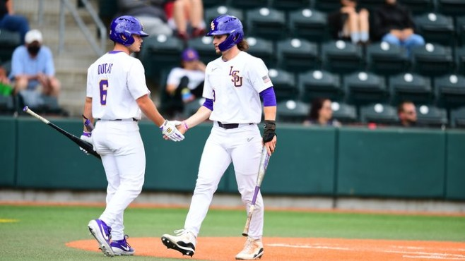 The LSU Tigers defeated Gonzaga 9-4 in Sunday's elimination game at the NCAA Eugene Regional in Oregon. --- Photo courtesy of LSU Sports/Twitter