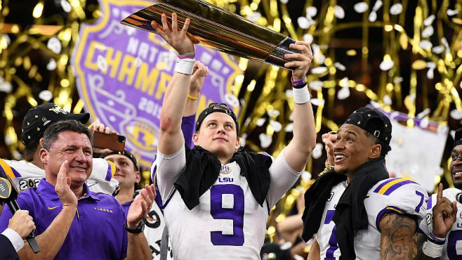 LSU Players Celebrating After Winning 2019 National Championship. Photo courtesy of CBS Sports.