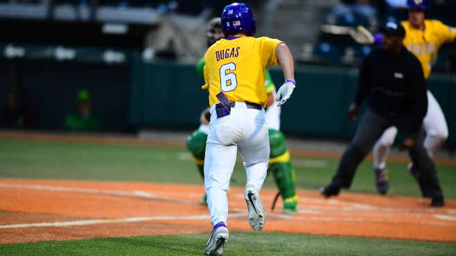 LSU's Gavin Dugas crosses home plate during Sunday night's NCAA Eugene Regional against Oregon. LSU won the game and forced a winner-takes-all game on Monday. -- Photo courtesy of LSU Sports - Twitter