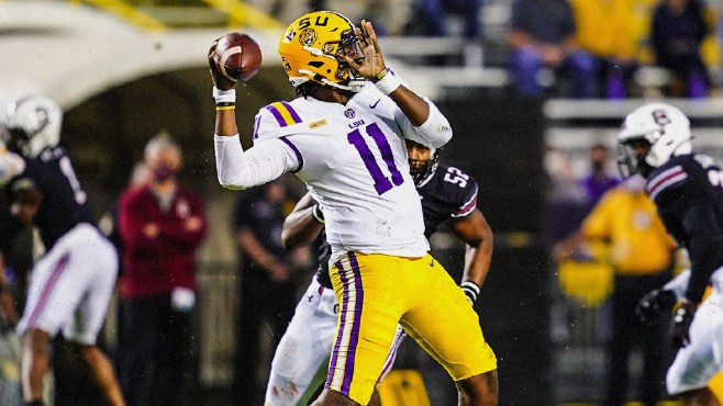 LSU freshman quarterback T.J. Finley scored three total touchdowns in Saturday's victory over South Carolina . -- Photo courtesy of LSU