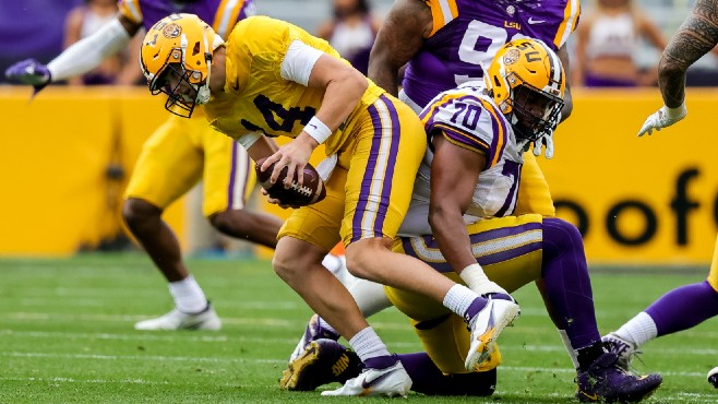 LSU sophomore quarterback Max Johnson avoids pressure during Saturday's Spring Game. Photo courtesy of REUTERS/Stephen Lew - USA Today Sports