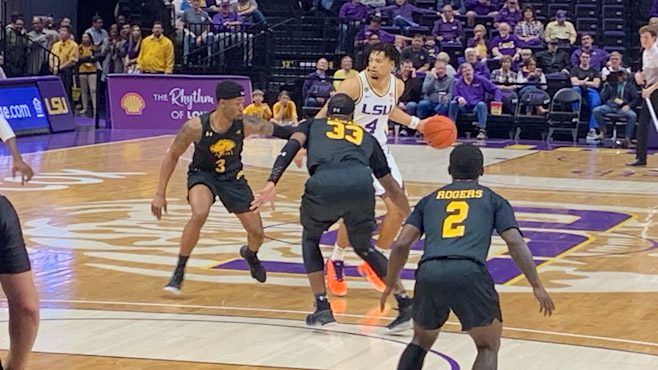 LSU guard Skylar Mays moving the ball down the court against the UMBC Retrievers. — Photo courtesy of LSU Athletics