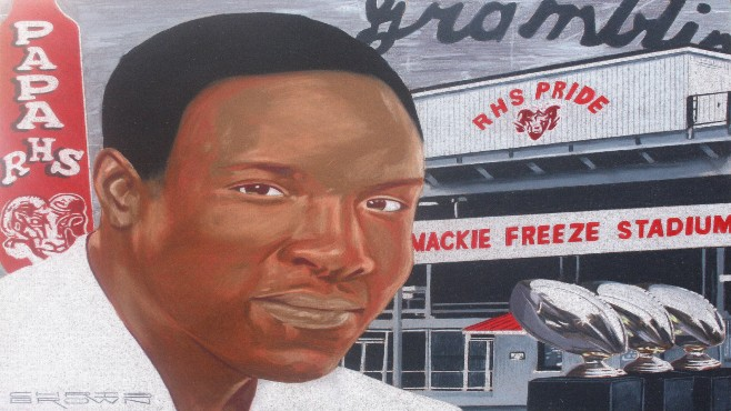Louisiana Sports Hall of Fame portrait artist Chris Brown captures the storied legacy of Richwood High School football coach Mackie Freeze in this portrait. Freeze will be inducted into the LSHOF later this month in Natchitoches. -- Photo courtesy of LSHOF