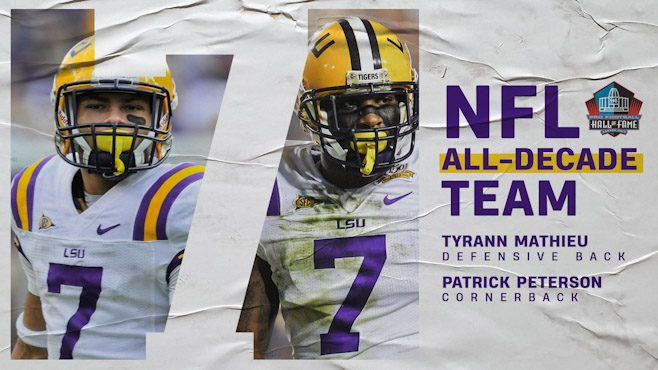 Former LSU star defensive backs Patrick Peterson and Tyrann Mathieu were selected to the NFL All-Decade Team on Monday. — Photo courtesy of LSU Athletics