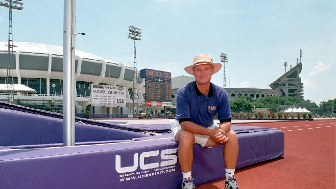 Legendary college track and field coach Pat Henry guided his teams at LSU and Texas A&M to a total of 36 NCAA men's and women's indoor and outdoor titles — 27 of them during a 17-year stay at LSU from 1988 to 2004. Henry will be inducted into the Louisiana Sports Hall of Fame later this month. -- Photo courtesy of LSHOF