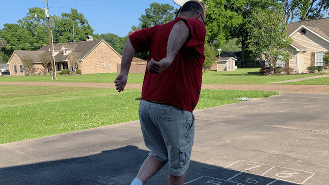 Raymond learned how to play hopscotch while working from home. He didn't even fall down once while playing for the first time. — Photo courtesy of Raymond Partsch III