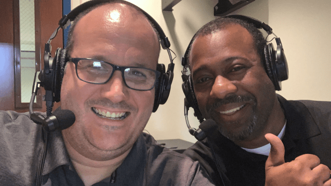 Raymond Partsch III (left) and Chad Jones return to call Lafayette High Mighty Lion Football games this fall. The games will be broadcast on the Roaring Lion Network on The Rewind 97.7 FM. — Photo courtesy of Raymond Partsch III