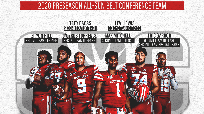 The Louisiana Ragin' Cajuns placed a total of 10 players on the All-Sun Belt Preseason teams released on Tuesday. — Photo courtesy of UL Athletics
