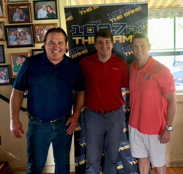 Ruffin Rodrigue poses for a photo with Bumper to Bumper Sports host Ben Love and University of Louisiana Director of Athletics Dr. Bryan Maggard at Ruffino's on the River. — Photo courtesy of Ben Love