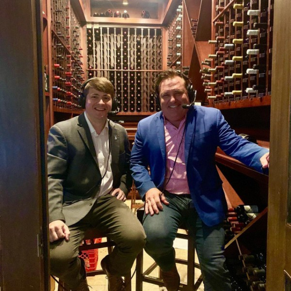 Ben Love and Ruffin Rodrigue  get ready to talk during an episode of  Bumper to Bumper Sports inside the wine cellar at Ruffino's on the River. — Photo courtesy of Ben Love