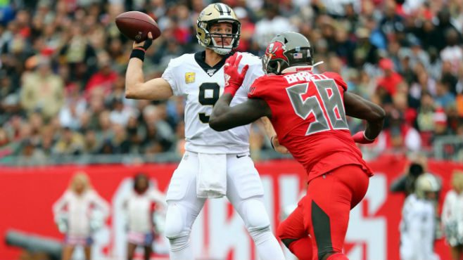 Saints QB Drew Brees under pressure against the Tampa Bay Buccaneers. — Photo courtesy of CBS Sports.