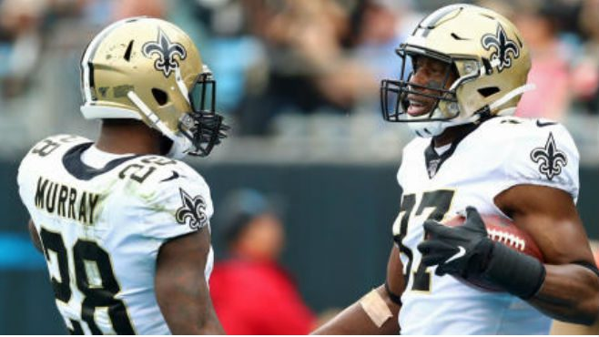 New Orleans Saints tight end Jared Cook and running back Latavius Murray celebrate a touchdown during Sunday's game. — Photo courtesy of CBS Sports