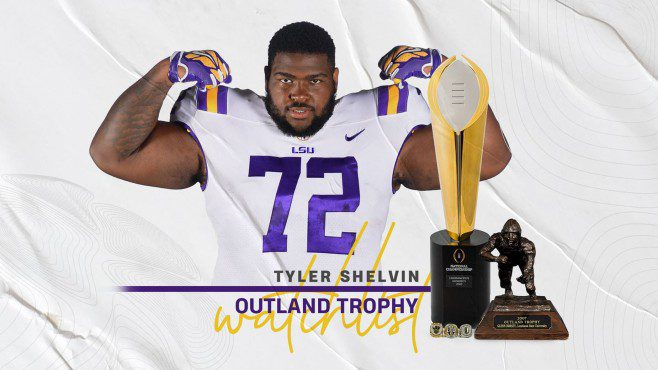 Former Northside High and Notre Dame of Crowley star Tyler Shelvin has been named to the watch list for both The Outland Trophy and Nagurski Trophy. — Photo courtesy of LSU Athletics