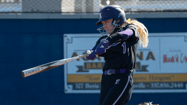 LSU Eunice softball star Sydnei Simon had four RBI, including a three-run home run, in Sunday's victory over Lake Land College. — Photo courtesy of LSUE Athletics