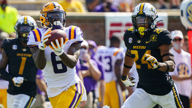 LSU wide receiver Terrace Marshall Jr. (6) catches a pass for a touchdown against Missouri defensive back Ishmael Burdine (24) during a game at Memorial Stadium in Columbia, Missouri last season. Photo courtesy of Jay Biggerstaff-USA TODAY Sports