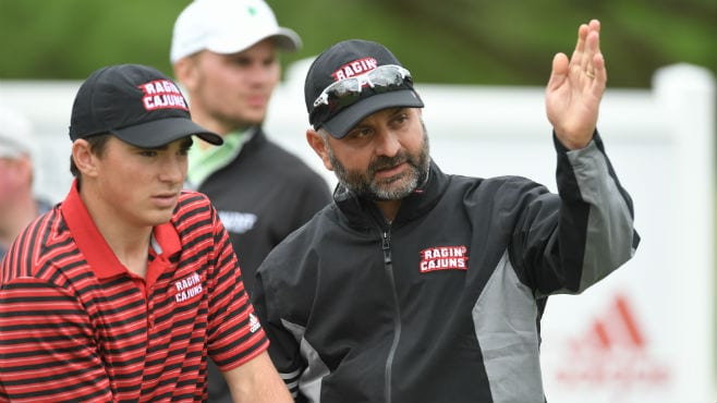 Longtime Ragin' Cajuns golf coach Theo Sliman (right) has tested positive for COVID-19,, the university revealed on Monday with a statement.