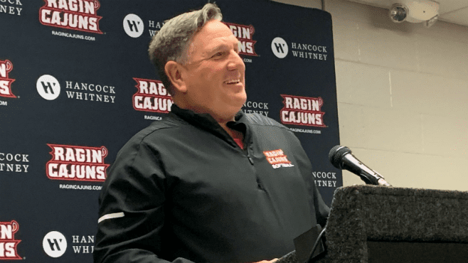 University of Louisiana head softball coach Gerry Glasco talks to media during his weekly press conference. The Ragin' Cajuns fell to the LSU Tigers on Sunday at Tiger Park 4-3. — Photo by Raymond Partsch III