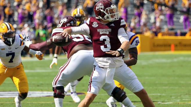 Mississippi State's K.J. Costello set a new single-game SEC passing record on Saturday against defending national champion LSU. -- Photo courtesy of CBS Sports